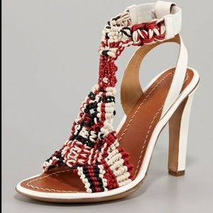 Chloe leather woven ankle strap heels